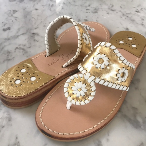 47500d39373f23 NWT Jack Rogers Palm Beach Gold White Sandal 7.5